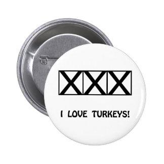 Bowling, I Love Turkeys T-Shirts & Gifts Button