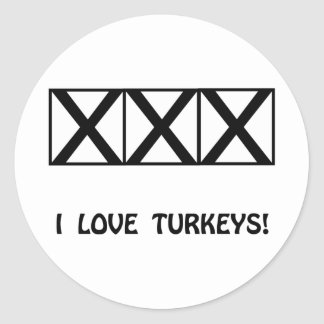 Bowling, I Love Turkeys T-Shirts & Gifts Classic Round Sticker