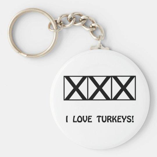 Bowling, I Love Turkeys T-Shirts & Gifts Keychain
