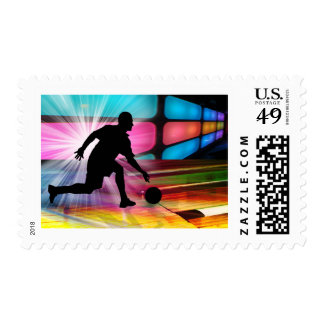 Bowling in a Neon Alley Invited Postage Stamps