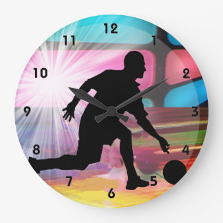 Bowling in a Neon Alley Large Clock