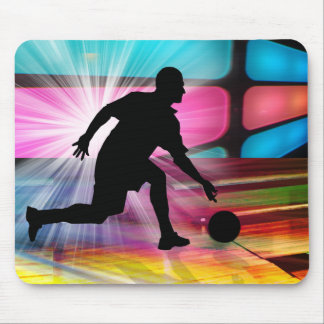 Bowling in a Neon Alley Mouse Pad
