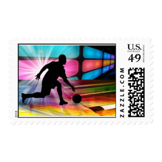 Bowling in a Neon Alley Postage Stamp