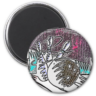 BOWLING IN CRAYON 2 INCH ROUND MAGNET