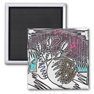 BOWLING IN CRAYON 2 INCH SQUARE MAGNET
