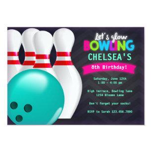 Glow Bowling Invitations Zazzle