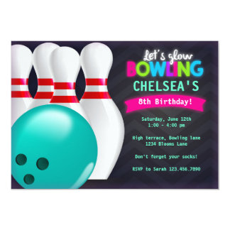 Glow Bowling Invitations Announcements Zazzle