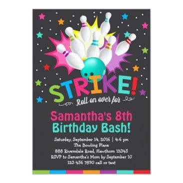 birthday bowling invitation, bowling birthday invite