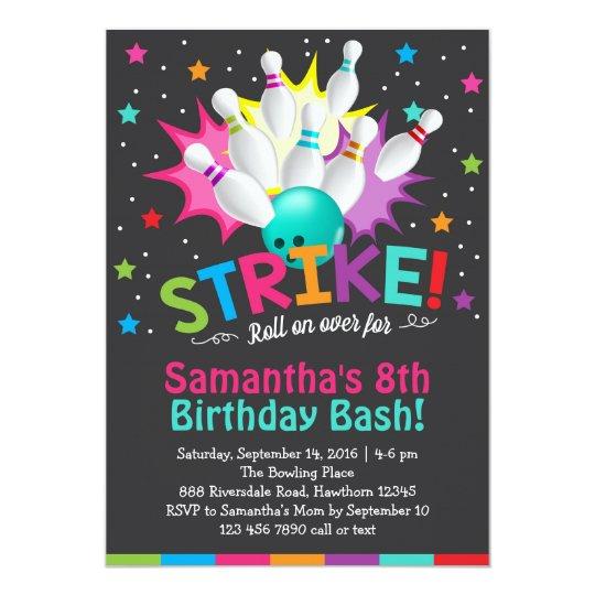 bowling invitation bowling birthday invite Zazzlecom