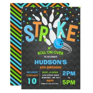 Bowling Invitation Birthday Party Strike