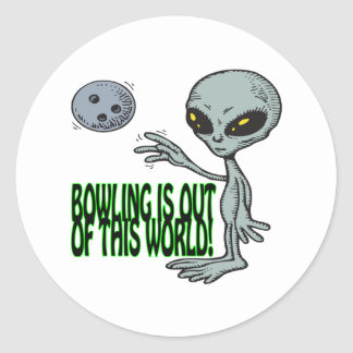 Bowling Is Out Of This World Classic Round Sticker
