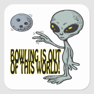 Bowling Is Out Of This World Square Sticker