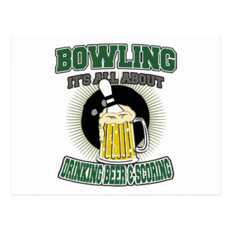 Bowling It's All About Drinking Beer & Scoring Postcard