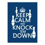 """Bowling Keep Calm and Knock 'em Down - all colors 5.5"""" X 7.5"""" Invitation Card"""