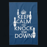"""Bowling Keep Calm and Knock &#39;em Down - all colors Kitchen Towel<br><div class=""""desc"""">This reads Keep Calm and Knock Em Down, in the style of the classic keep calm poster. There are bowling pins standing on the letters. It&#39;s a design popular with everyone who loves bowling. You can change the background colour really easily, just press customize. If you&#39;d like any other changes...</div>"""