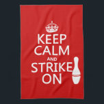 """Bowling - Keep Calm and Strike On Hand Towel<br><div class=""""desc"""">This design reads &#39;Keep Calm and Strike On&#39;, there is a big silhouette of a bowling pin next to the words. It&#39;s a fun, simple design, which makes perfect gifts or giveaways for bowlers or bowling fans. It&#39;s available on a wide range of products, see my store for more. You...</div>"""
