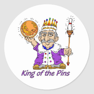 Bowling: King Of The Pins Round Sticker