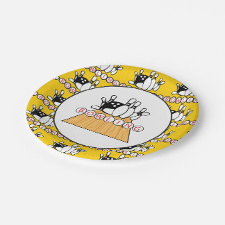 Bowling lane and pins Party paper plate