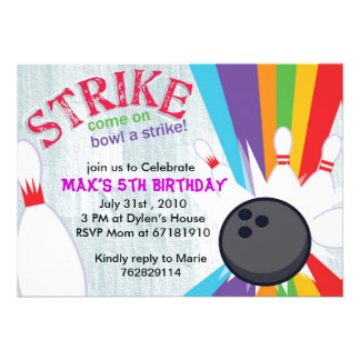 Bowling lucky rainbow strike birthday party invite