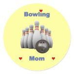 Bowling Mom Classic Round Sticker