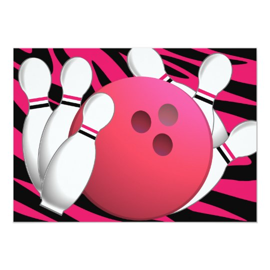 Bowling Neon and Zebra Card