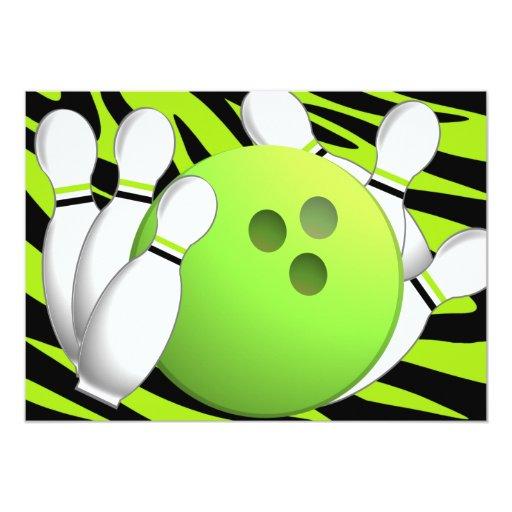 Bowling Neon Green and Zebra 5x7 Paper Invitation Card