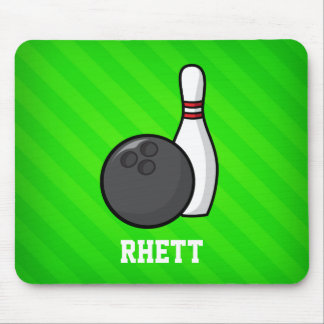 Bowling; Neon Green Stripes Mouse Pad