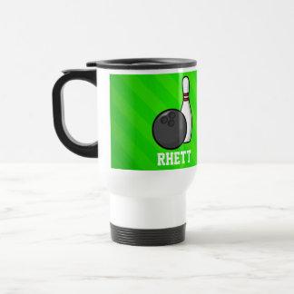 Bowling; Neon Green Stripes 15 Oz Stainless Steel Travel Mug