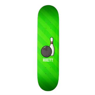 Bowling; Neon Green Stripes Skateboard