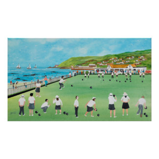 Bowling on Newlyn Green Poster