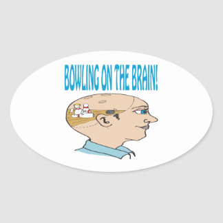 Bowling On The Brain Oval Stickers