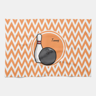 Bowling; Orange and White Chevron Hand Towel