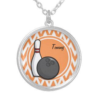 Bowling; Orange and White Chevron Custom Jewelry
