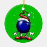 Bowling Double-Sided Ceramic Round Christmas Ornament