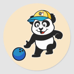 Round Sticker with Bowling Panda design