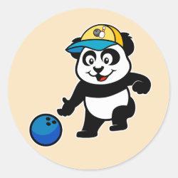 Round Sticker with Bowling Panda design