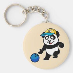 Basic Button Keychain with Bowling Panda design