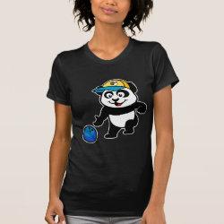 Women's American Apparel Fine Jersey Short Sleeve T-Shirt with Bowling Panda design