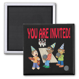 Bowling Party 2 Inch Square Magnet