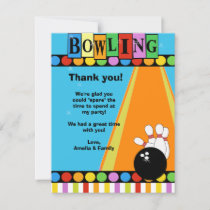 BOWLING PARTY 4x5 Flat Thank you note
