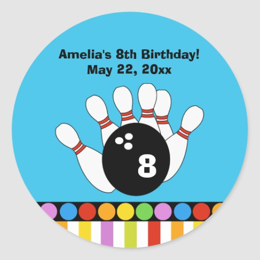 Bowling Party Birthday Custom Favor Sticker