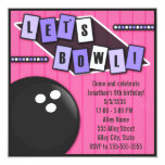 """Bowling Party Birthday 5.25"""" Square Invitation Card"""