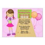 Bowling Party Birthday Invitation for Girl