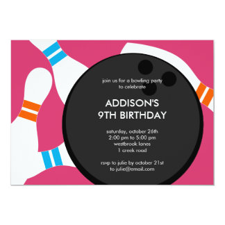Bowling Party Birthday Party Invitation - Pink