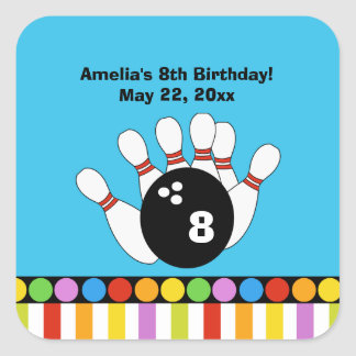 Bowling Party Birthday SQUARE Favor Sticker