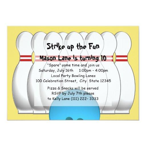 Bowling Party Custom Invites