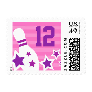 Bowling party customizable birthday age postage