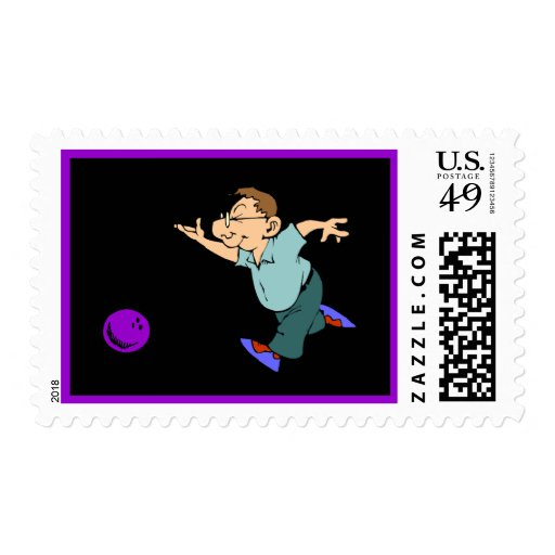 Bowling Party Design Postage Stamp