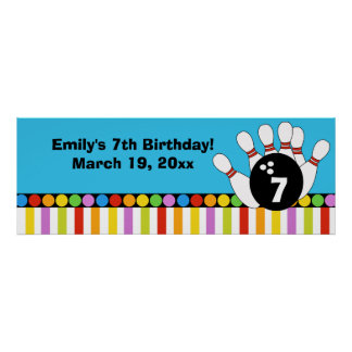 Bowling Party Dots & Stripes Retro Birthday Banner Poster