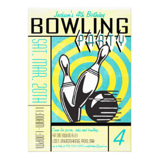 Bowling Party Invitation - Aqua